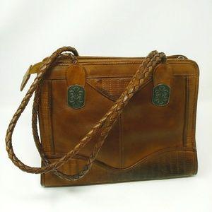 American Angel brown leather purse braided handles